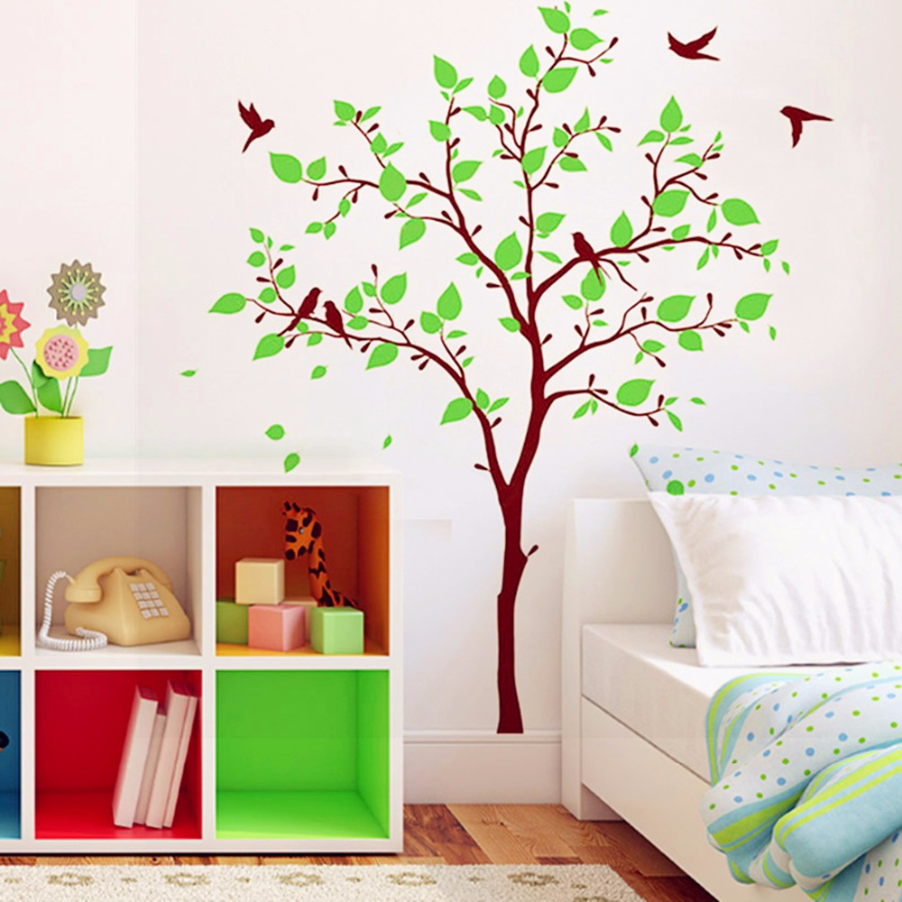 2017 Hot Recommend Baby Nursery Wall Decoration Kids Room Wall Decals Huge  Tree With Birds Wall Sticker Home Decor 3D Wall Decal