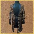 Блестками костюм мужской ночном клубе певица этап DS стройная длинный леопарда костюм платье EXO же пункте bigbang костюмы ночной клуб одежда