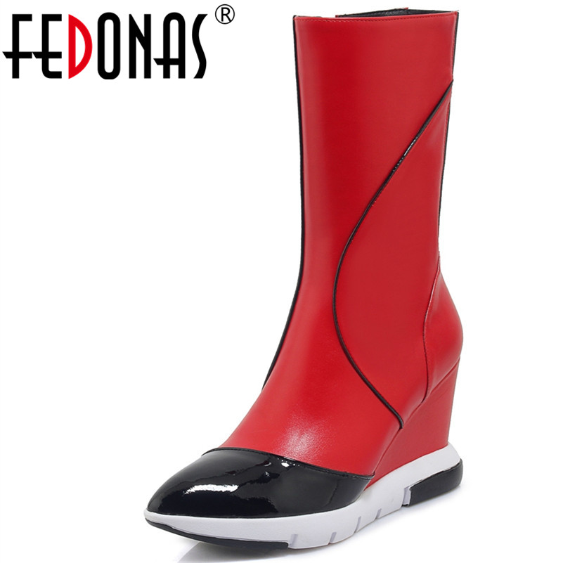 FEDONAS Fashion Women Mid-Calf Boots Genuine Leather Autumn Winter Warm Wedges High Heels Shoes Woman Pointed Toe High Boots xjrhxjr size 33 43 shoes woman autumn winter warm shoes fashion wedges heel mid calf boots suede leather riding boots black gray