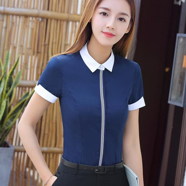 New Fashion Women Cotton Shirt Spring Formal Elegant Blouse Office Ladies Work Wear Plus Size Tops 7