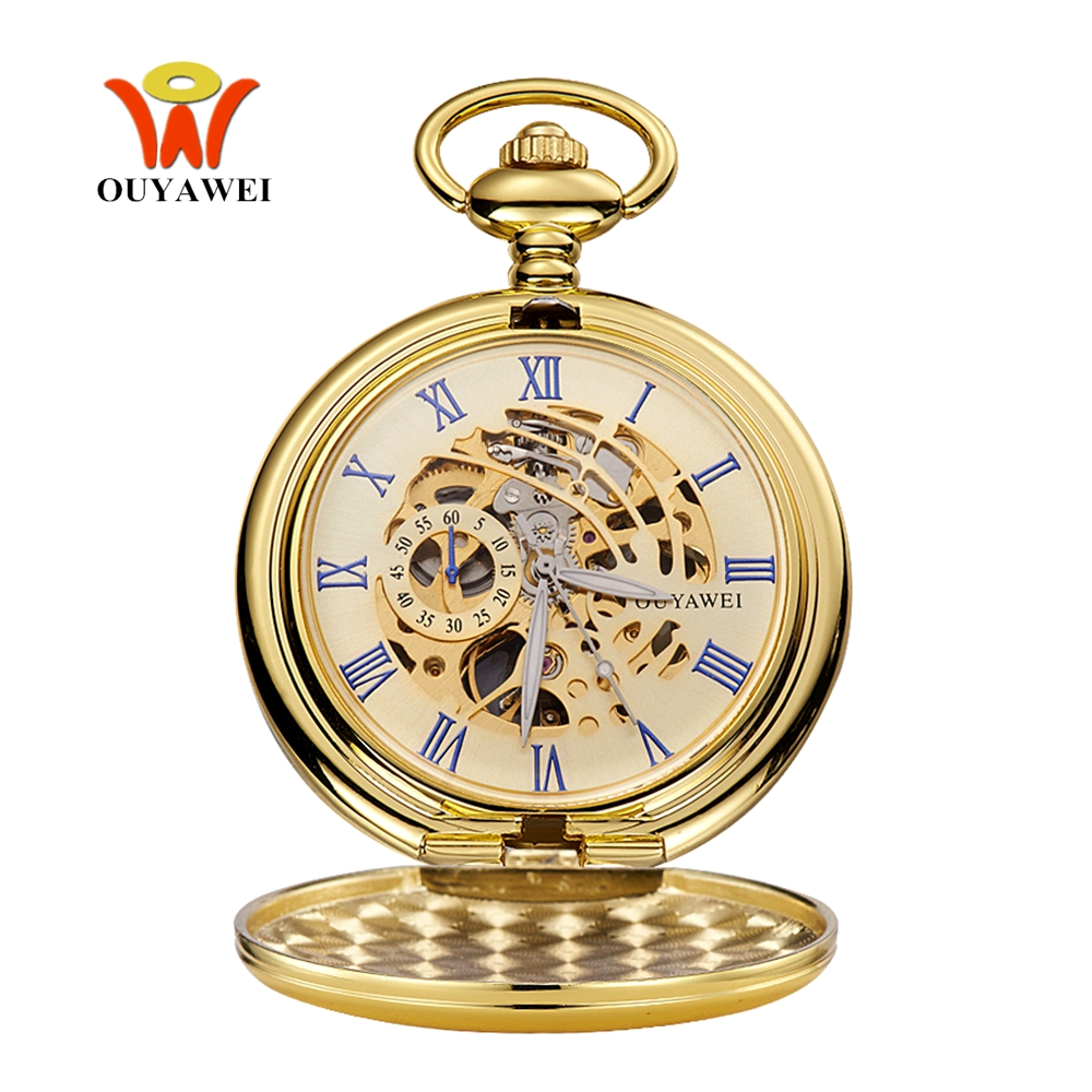 Fashion Relogio OYW Pocket Fob Watches Skeleton Design Mechanical Hand Wind Watch Men Retro Pendant Pocket Watch Men Clock Saat