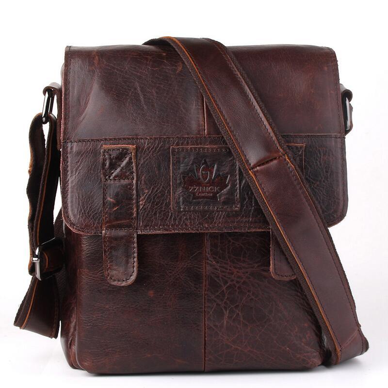 Фотография Genuine Leather Men bags Fashion Brand Designer Handbags Shoulder Vintage Retro Cow Bags Men Messenger Bags Briefcase  LJ-0809