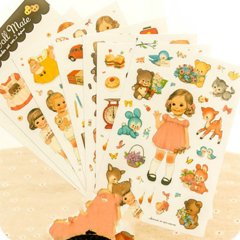6 Sheets/set New Cute Lovely Paper diy Stickers for For Children Stickers Toys Diary Scrapbook Book Wall Decor Cartoon Stickers colorful cartoon forest pattern removeable wall stickers