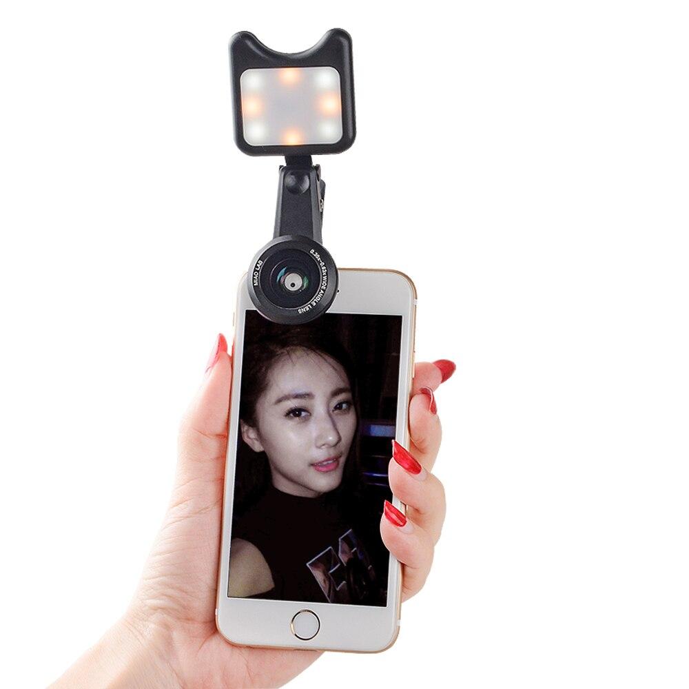 APEXEL Selfie Lentes wide macro lens Led Fill light Lens For iPhone 7 8 X For Samsung S7 S8 Smartphone 3in1 Phone camera lenses