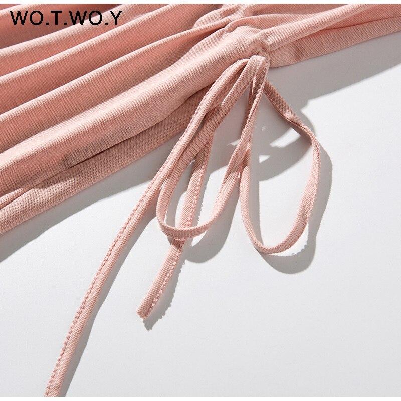 Long T-shirt Dresses Women Summer Sashes Waist Slit Casual O-Neck Short Sleeve Loose Ankle-Length Dress Woman Pink Cotton 20
