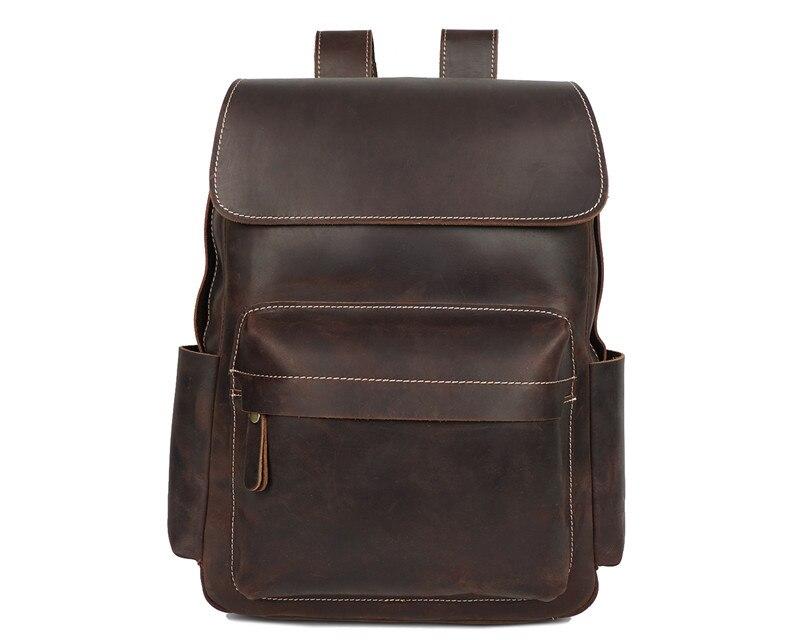Nesitu Высокое качество Большой Винтаж коричневый толстый кошелек из натуральной кожи мужские рюкзаки Crazy Horse Кожаные мужские дорожные сумки # M8090 - 6