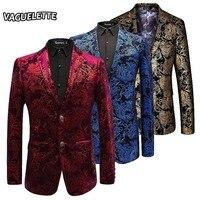 Velvet Silver Blazer Men Paisley Floral Jackets Wine Red Golden Stage Suit Jacket Elegant Wedding Men