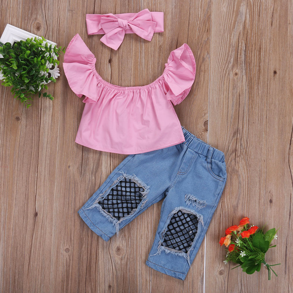 74c4e302068a90 Toddler Baby Girls Kids Cotton Off Shoulder Blouse Tops Denim Fishnet Jeans  Pants Headband 3Pcs Outfits Set Clothes Sunsuit 1 6T-in Clothing Sets from  ...