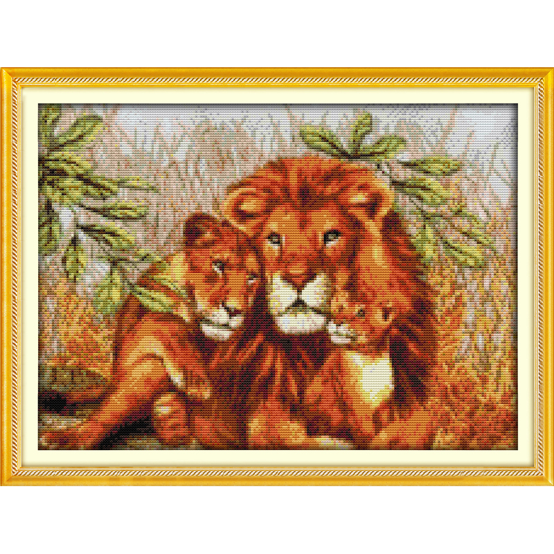 Everlasting love Christmas A lion family Chinese cross stitch kits Ecological cotton stamped 11 14 CT New store sales promotion