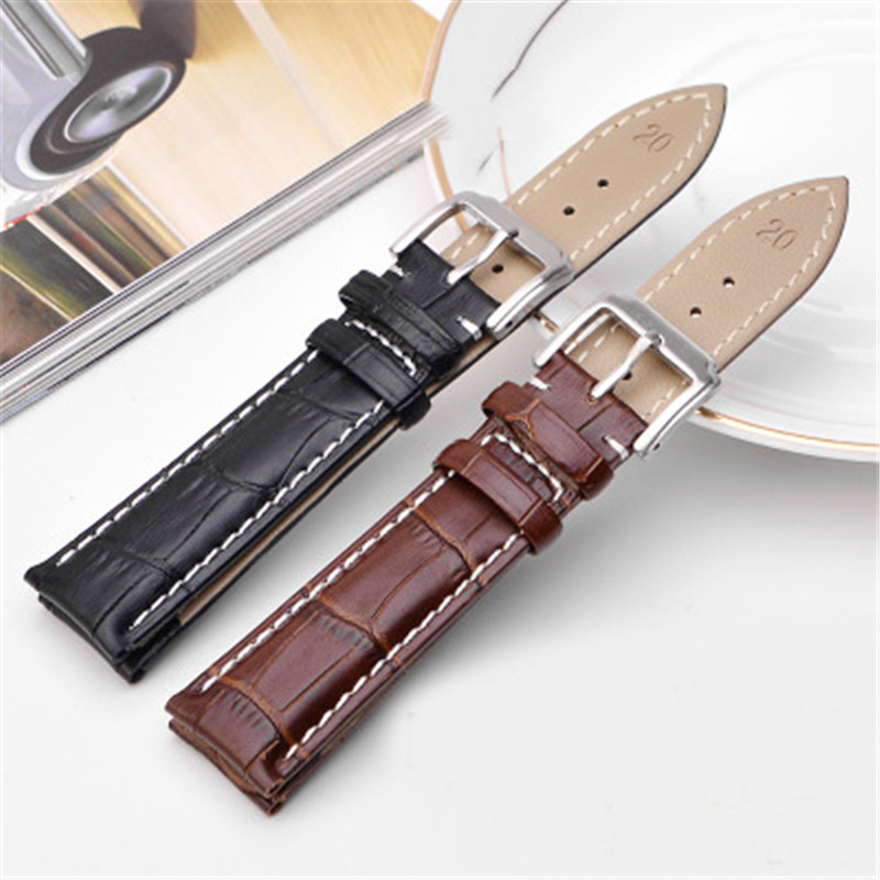 18mm 19mm 20mm 21mm 22mm 24mm mens Soft Calf Genuine Leather Watch Strap Alligator Grain watch band Bracelet for women watch eache 20mm 22mm 24mm 26mm genuine leather watch band crazy horse leather strap for p watch hand made with black buckles