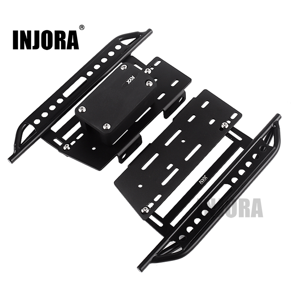 INJORA 2PCS Metal Pedal & Receiver Box For 1:10 RC Rock Crawler Car Axial Scx10 SCX10 II 90046 Jeep Wrangler Body Shell