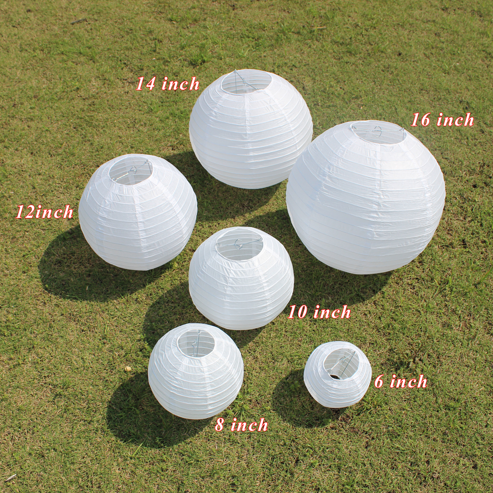 Image 4 - 10 Pieces 6 8 10 12 14 16 Inch White Round Paper Lanterns For Kids Baptism Birthday Party Wedding Decoration Hanging Paper Ball-in Lanterns from Home & Garden