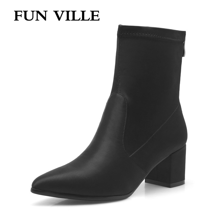 FUN VILLE New spring Autumn Women Ankle Boots Soft fabric Pointed toe Square heel Ladies shoes Heel height 5.5cm big size women boots 2017 autumn winter women s shoes pu leather ankle boots cowboy western pointed toe punk boots ladies big size