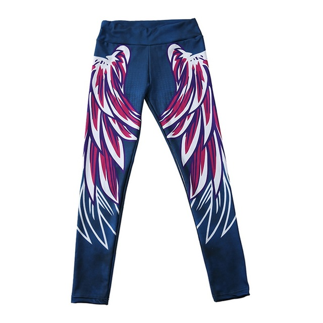 Sexy Print  Angel Wings Yoga Pants with High Waist Push Up