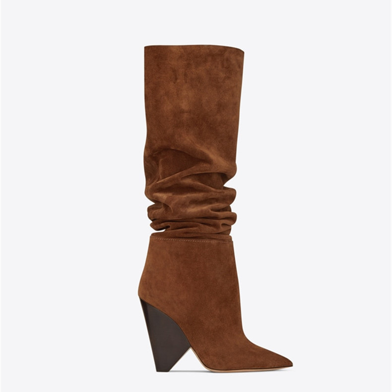 Sexy Knee Boots for Women Spike High Heel Boots Suede Leather Autumn Winter Brown Botas Mujer Wedge Shoes Woman недорго, оригинальная цена