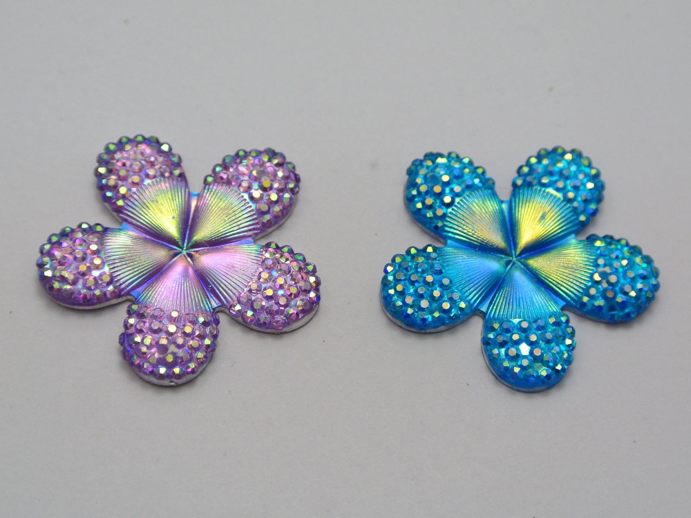 20 Mixed Color Flatback Resin Flower Dotted Rhinestone Cabochon Sew Beads 28mm - XuanXuan Jewelry Finding store