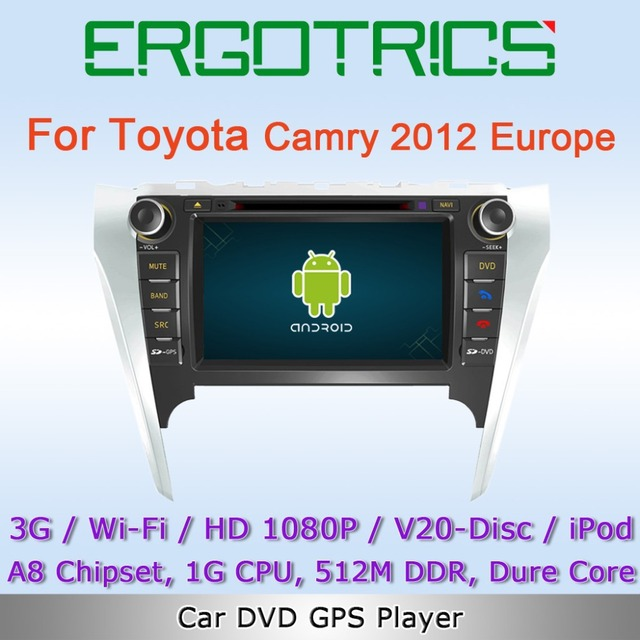 Android 4.0 3G WiFi Car DVD GPS Sat Navi Headunit For TOYOTA Camry 2012 Euro Version with Radio IPOD Bluetooth Free Wifi Adapter