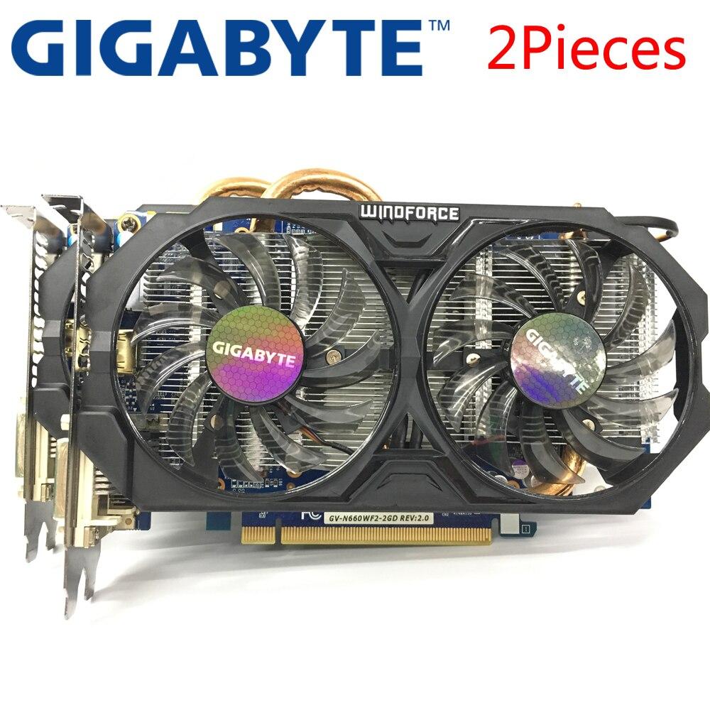 100% QualitäT Gigabyte 2 Stück Grafikkarte Gtx 660 2 Gb 192bit Gddr5 Video Karten Für Nvidia Geforce Verwendet Vga Karten Stärker Als Gtx 750 Ti