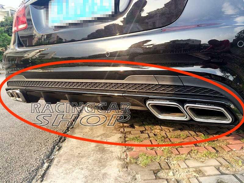 E63 Black Series diffuserExhaust Tips combo For W212 E-Class E200 E220 E250 E300 E350 E500 E550 AMG Sport Bumper 2014UP  M043F