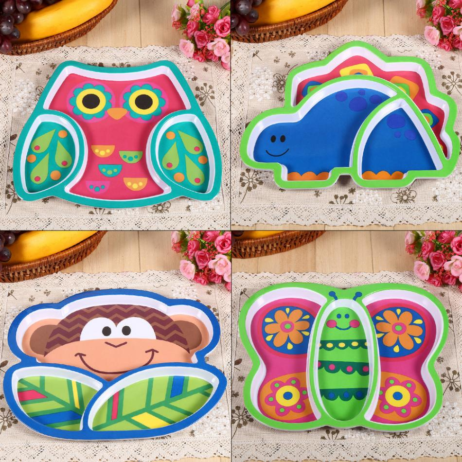 Baby Feeding Dishes Animal Dinosaur Children Food Plate Dishes Baby Kids Feeding Tableware Dinning Table Food Tray Melamine