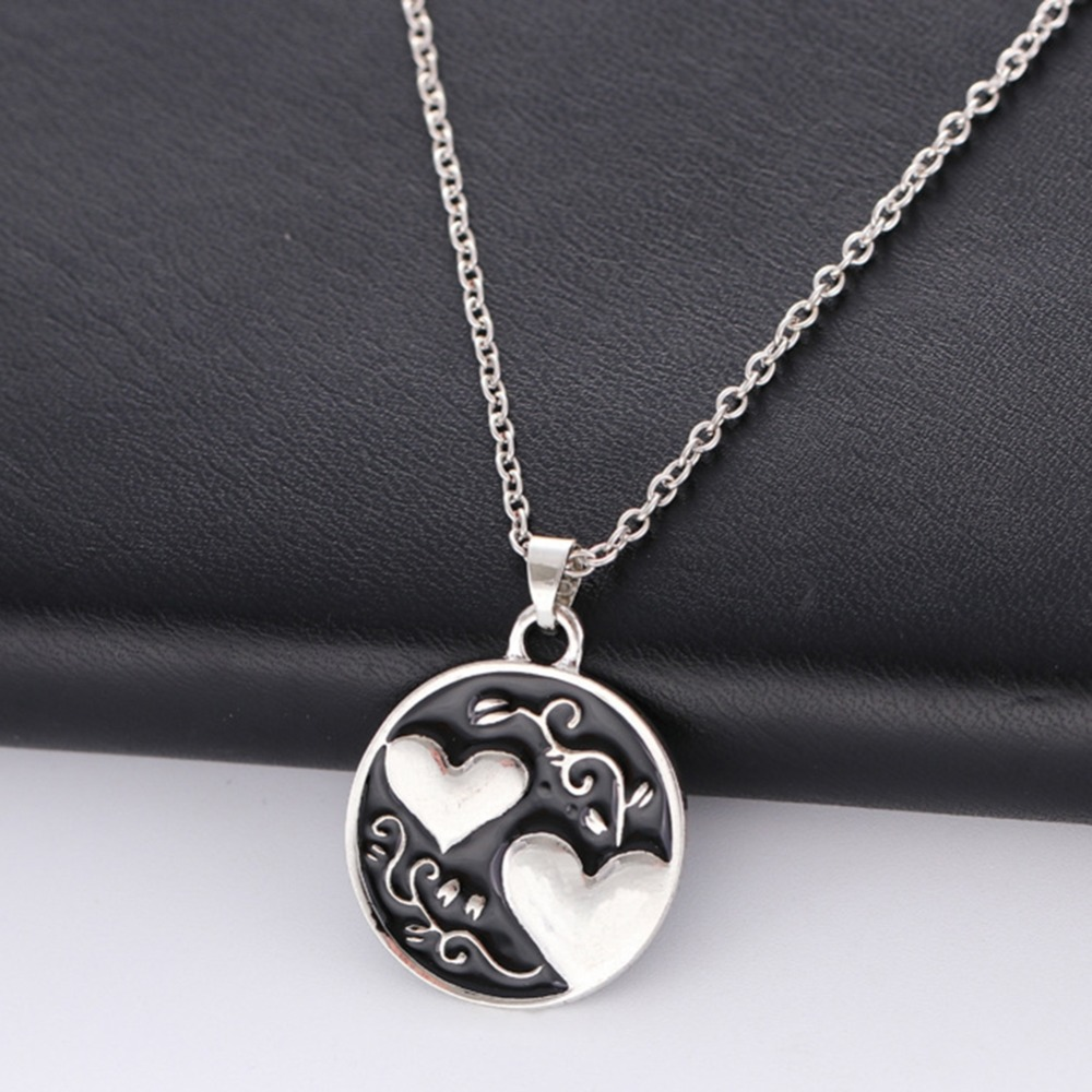 Lovers Fashion 1 Piece Chain Clavicle Necklace Double Love Sister Tree Pendant For Women Men Jewelry Gift