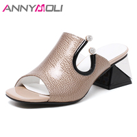 ANNYMOLI Spring Sandals Women Natural Genuine Leather Thick High Heel Slippers Real Leather Crystal Party Shoes Lady Red Size 39