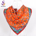 New Design Letter Twill Silk Scarf Printed Hot Sale Women 100% Mulberry Silk Scarves Wraps Spring Autumn Female Black Grey Scarf