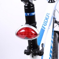 Rechargeable Waterproof 5 LED MTB Bike Rear Tail Light Safety Cycling Warning Light Flashing Lamp