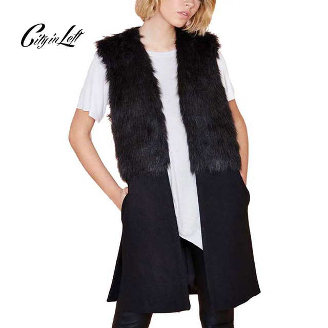 Women Fashion Black Spliced Sleeveless Long Style Vest Trench Outwear Elegant Slim Causal Coat 2016 Winter Autumn Cardigan 442