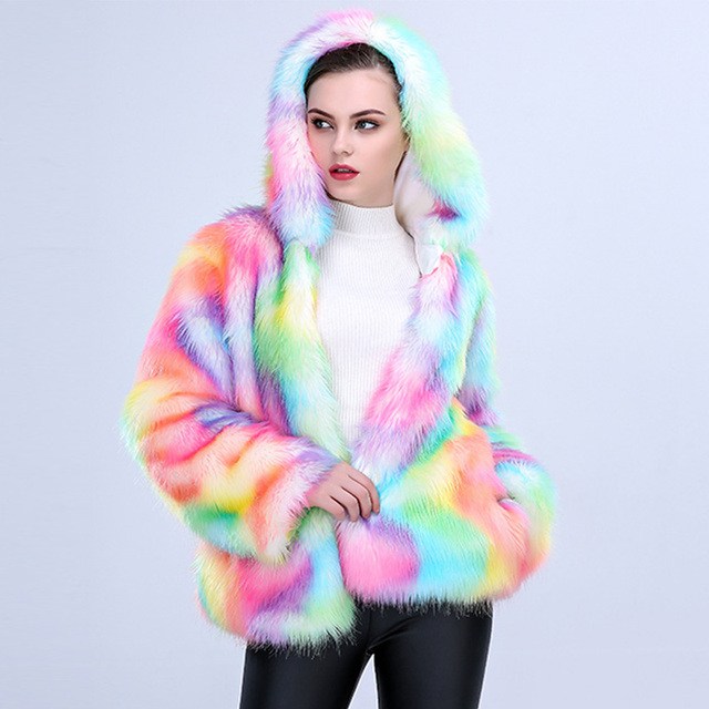 Colorful Artificial Fur Coat with Hooded 4