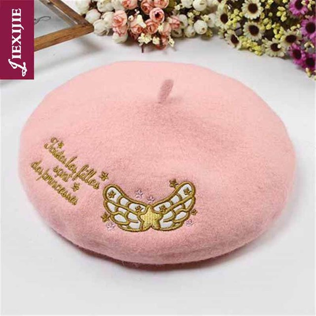 Japoński 100% wełny wzór w stylu vintage kapelusz księżyc wiśni hafty księżniczka lolita College słodka pani malarz piękne zimowe ciepłe czapki
