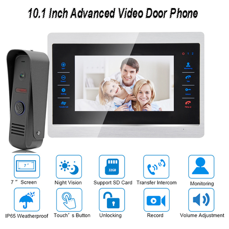 10 Inch New Video Door Phone Monitor Intercom System Kit Night Vision 1200 TVL Doorbell Camera Recording SD Card Support