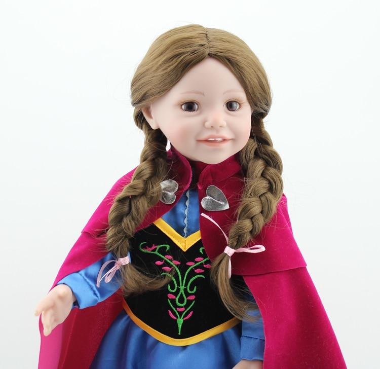 цена 18inch Handmade Full Vinyl Reborn Doll American Girl Princess Doll with Elsa Dress Classic Toy for Kids Christmas Birthday Gifts
