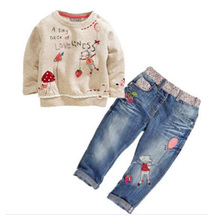 Hot New Fashion Children Girls Clothes Sets Cotton Long Sleeve Tops+Jean 2 pcs Spring Autumn Kids Girl Clothing Set Girls Suits