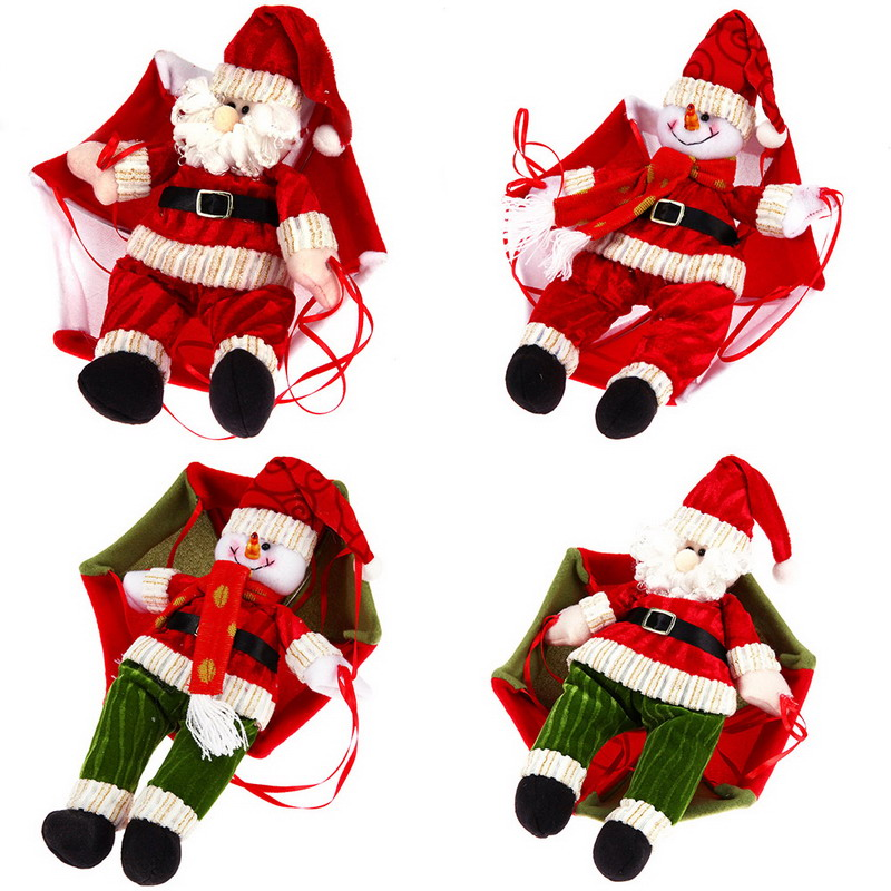 Christmas Home Ceiling Decorations Parachute 24cm Santa Claus Smowman New Year Hanging Pendant Decoration Supplies In Drop Ornaments