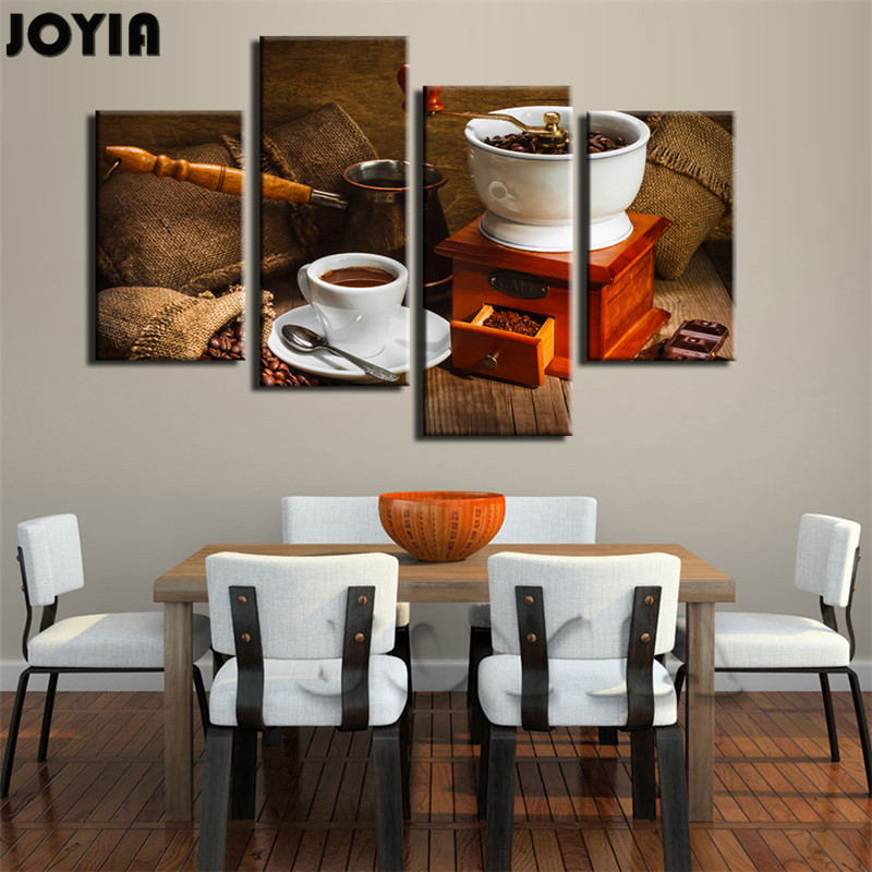 4 Piece Canvas Painting Coffee Beans Art Prints Wooden Manual Cafe Grinder Artistic Pictures Set For
