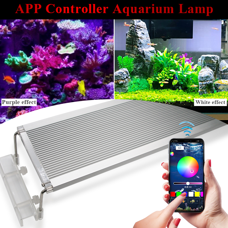 50 70CM RGB SMD 5050 Aquarium LED Lighting Extendable Bracket Clip On Marine Led Light For