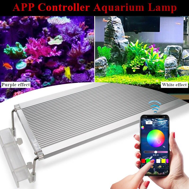 50-70CM RGB SMD 5050 lumière LED pour aquarium ing Clip de support extensible sur lumière LED Marine pour lampe de réservoir de poisson pour lumière LED pour aquarium