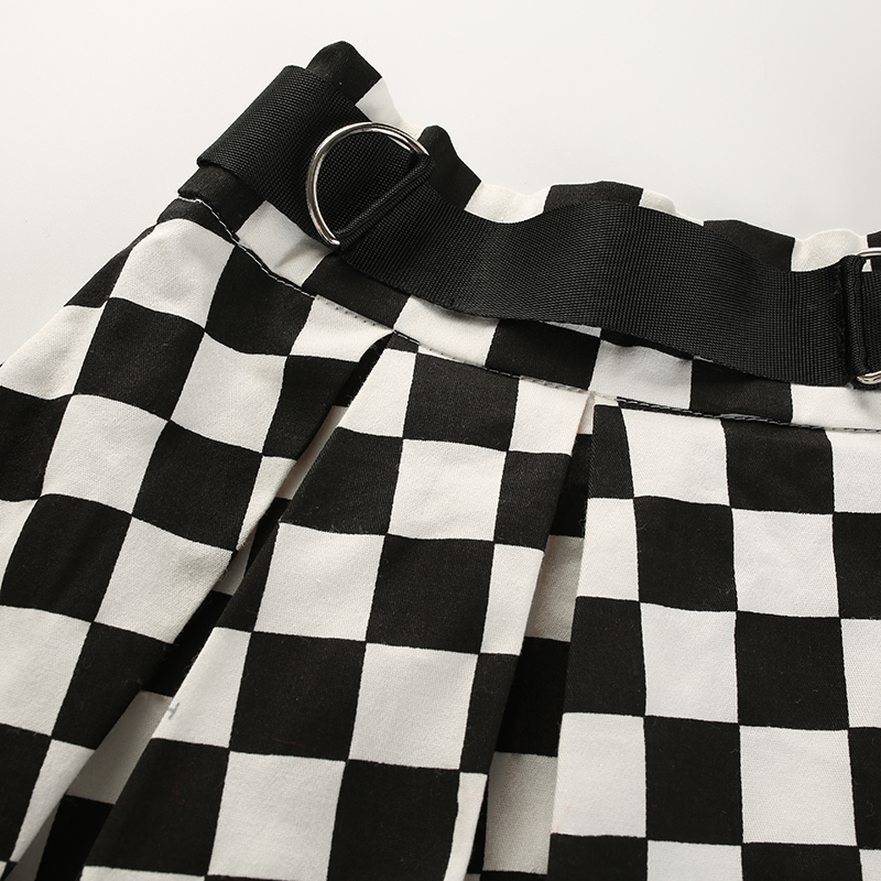 13Sweetown Korean Fashion Checkerboard Pleated Skirts Womens Sashes High Waist Zipper Cotton Short Skirt Woman Summer 2018 Skirts