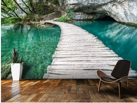Custom natural scenery wallpaper,Plitvice Bridge,3D photo for living room bedroom kitchen wall wall waterproof PVC wallpaper