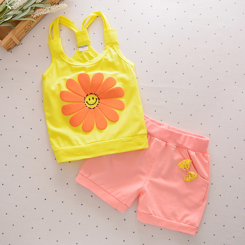 Baby Girls children short Sets Clothing Summer Sunflower T Shirts + Pants Cotton Sleeveless Kids Costume Boy Clothes Suits cs035 hot sale 2016 kids boys girls summer tops baby t shirts fashion leaf print sleeveless kniting tee baby clothes children t shirt