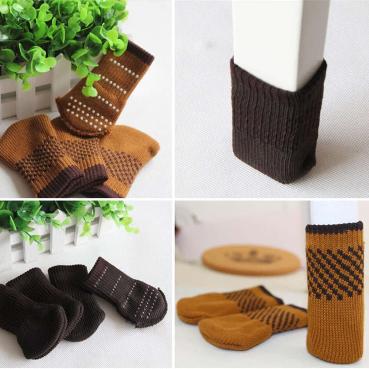 Table Furniture Feet Sleeve Cover Protectors 24Pcs Chair Leg Socks Cloth Gloves Floor Protection Knitting Wool Socks Anti-slip