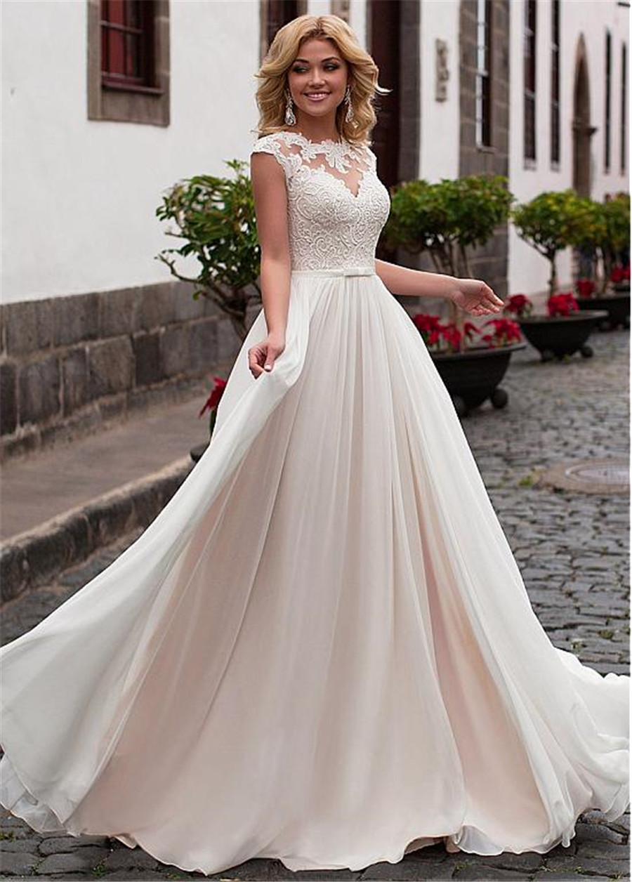 Image 3 - Charming Chiffon Jewel Neckline A Line Wedding Dress With Lace Appliques & Belt Lace Up Bridal Dress vestidos de 15-in Wedding Dresses from Weddings & Events