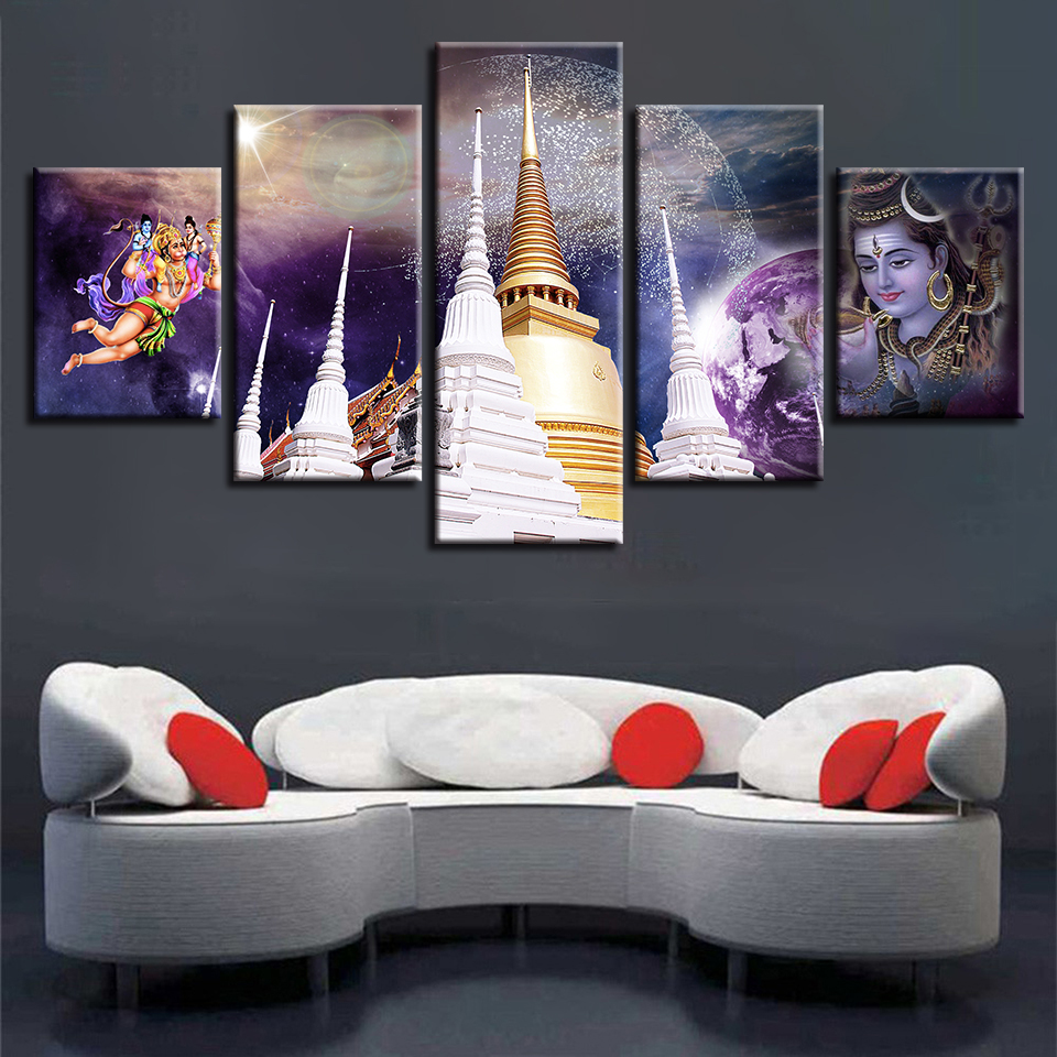 Pictures Decor Living Room Wall Art 5 Pieces HD Printing Hindu God Lord Shiva Scenery Canvas Paintings Modular Poster Artworks