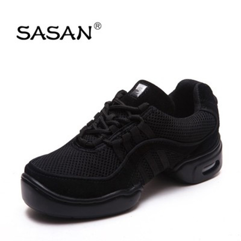 Sneakers Dance Shoes Woman SASAN 8805 Modern Shoes Slip-up 2018 Canvas Black MEN SHOE Heel 5cm Net Cloth Breathable Odoriza Hot