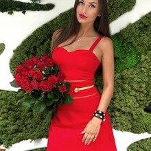 a3b888934eb24 أحدث السيدات مثير أكمام عارية الذراعين الأحمر ضمادة اللباس 2019 محبوك أنيقة  مصمم حزب اللباس