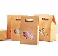 10x15cm Cute Kraft Paper Food Packaging Bag with Loving Heart Window and Handle, for Food Cookies Candy Meat Baking,50 Pack