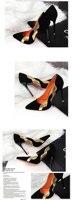 черный с острым носом стиль высокая высокие обувь Cable Seal ну в моей кожа женщины туфли на высоком bloke свадьба обувь марка