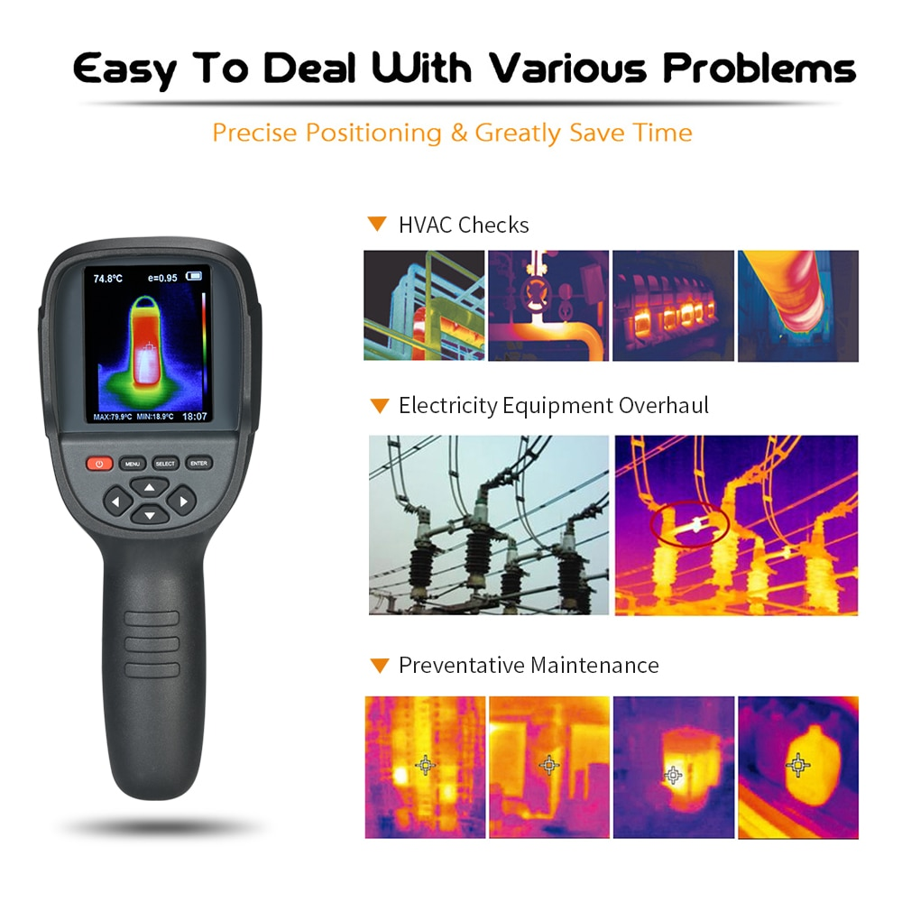 """2.4"""" Infrared Thermometer Thermal Imaging Camera IR Thermal Imager Infrared Imaging Device hygrometer temperature instruments"""