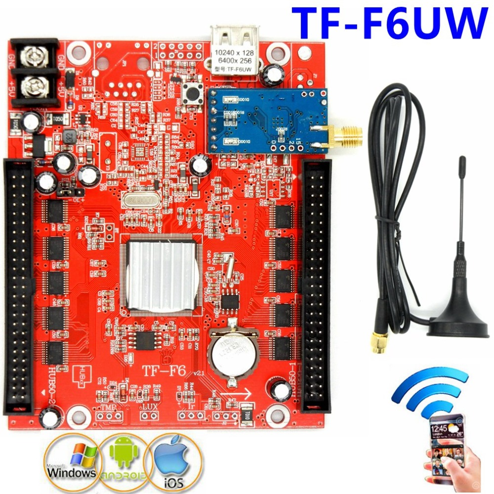 все цены на TF-F6UW WIFI+USB led screen control card 1536*32,768*64 dots single,dual,full color Wireless controller led board онлайн